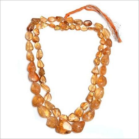 Natural Citrine Tumbled Beads Necklace