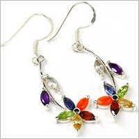 Gemstone Silver Chakra Earring