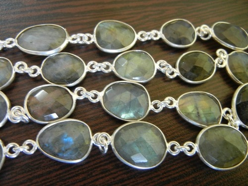 Labradorite Silver Station Chain