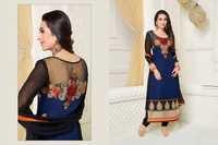 Karishma Kapoor Blue Georgette Churidar Salwar Suit