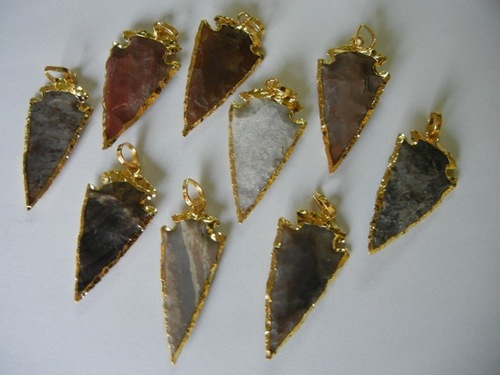 5 Piece Lot Of Gold Plated Arrowhead Pendant