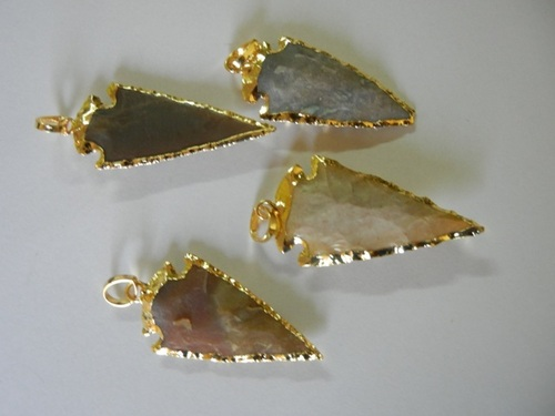 10 Piece Lot Of Gold Plated Arrowhead Pendant