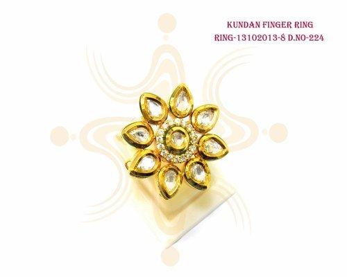 Pan Flower Kundan Finger Ring