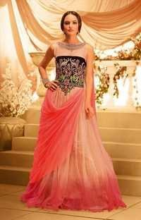 Elegent Indian dusty pink and biege Gown
