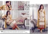 Neha Sharma Cream Georgette Churidar Suit