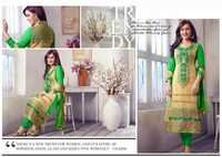 Sea Green And Cream Georgette Churidar Suit