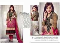 Neha Sharma Cream Resham Work Churidar Salwar Suit