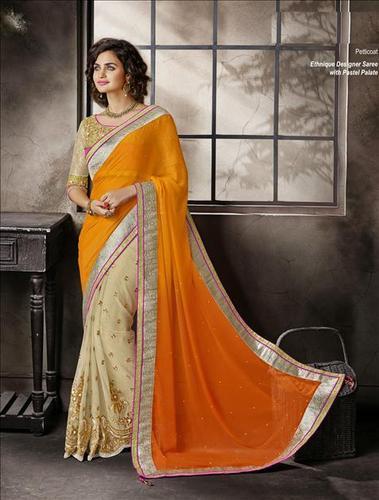 Latest golden worked saree