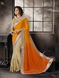 Latest golden worked saree