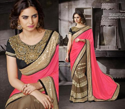 Designer Floral worked heavy bordred saree