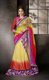 Designer Floral and Leaf Work saree