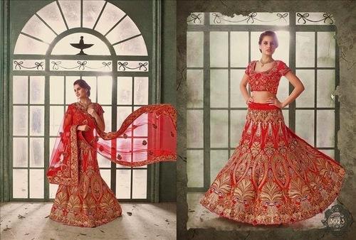 Wonderful Red Bridal lehenga saree