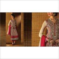 Beige And Maroon Embroidery Work Churidar Salwar Suit