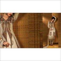 Fabulose Beige Zari Work Churidar Salwar Suit