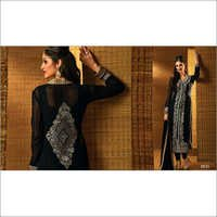 Fabulose Black Georgette Churidar Salwar Suit