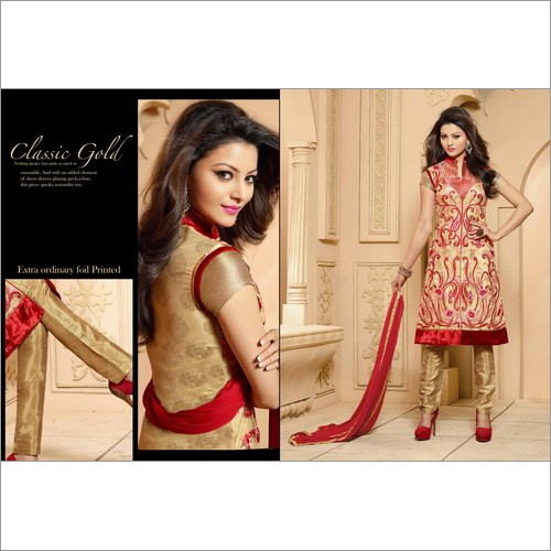 Awesome Beige Georgette Churidar Salwar Suit