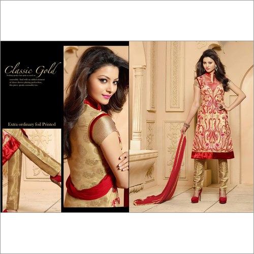 令人敬畏的米黄Georgette Churidar Salwar衣服