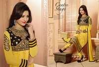 Yellow Georgette Zari Churidar Salwar Suit