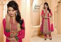 Pink And Cream Georgette Churidar Salwar Kameez