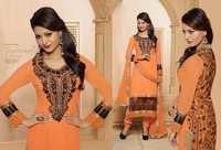 Dazzling Peach Georgette Churidar Salwar Suit