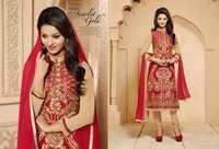 Red And Beige Georgette Churidar Salwar Suit