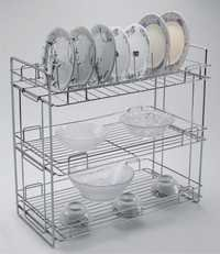 Triple Shelf Folding Standing Kitchen Organiser