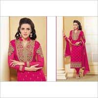 Bollywood Fuschia Pink Georgette Straight Salwar Kameez with Duppatta