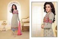 Bollywood Grey &  Pink Georgette Straight Salwar Kameez with Duppatta