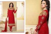 Bollywood Red & Golden Georgette Straight Salwar Kameez with Duppatta