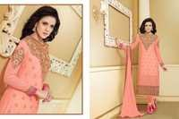 Bollywood Peach Georgette Straight Salwar Kameez with Duppatta