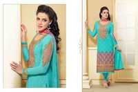 Bollywood Turquoise Blue Georgette Straight Salwar Kameez with Duppatta