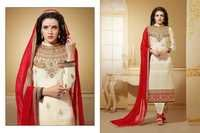 Bollywood Cream & Red Georgette Straight Salwar Kameez with Duppatta