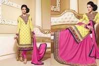 Bollywood Yellow & Pink Georgette Straight Lehenga / Salwar Kameez with Duppatta