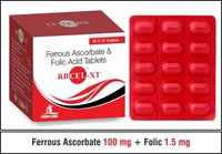 Ferrous Ascorbate 100 mg.  Folic Acid 1.5 mg.