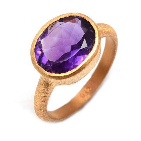Purple Amethyst Gemstone Ring