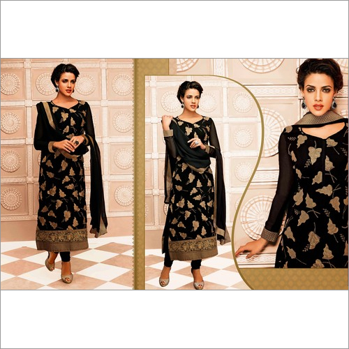 Bollywood Black Georgette  Straight Salwar Kameez with Duppatta