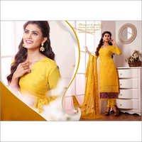 Yellow  Chiffon Straight Salwar Kameez with Dupatta