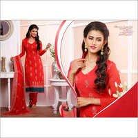 Red  Chiffon Straight Salwar Kameez with Dupatta