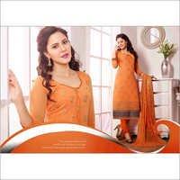 Orange Chiffon Straight Salwar Kameez with Dupatta