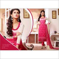 Pink & Cream Chiffon Straight Salwar Kameez with Dupatta