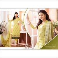 Light Yellow Chiffon Straight Salwar Kameez with Dupatta