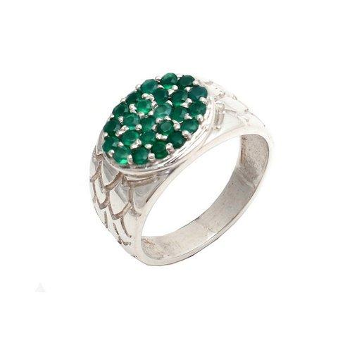 Natural Green Onyx Gemstone Silver Mens ring