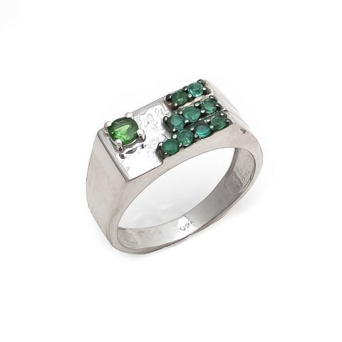 Natural Green Onyx and Tsavorite Gemstone Silver Mens ring