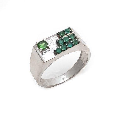 Natural Green Onyx and Tsavorite Gemstone Silver Mens ring