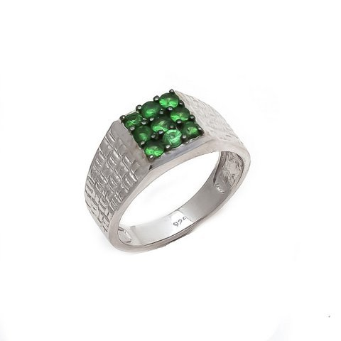 Natural Tsavorite Gemstone Silver Mens ring