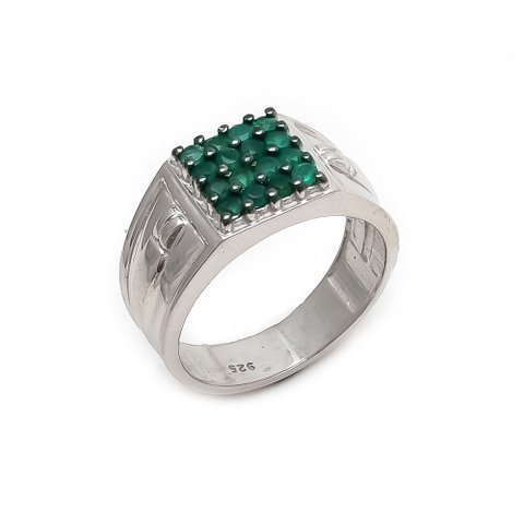 Natural Green Onyx Gemstone Silver Mens ring