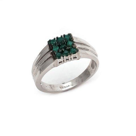 Natural Green Onyx Gemstone Mens ring Sterling Silver