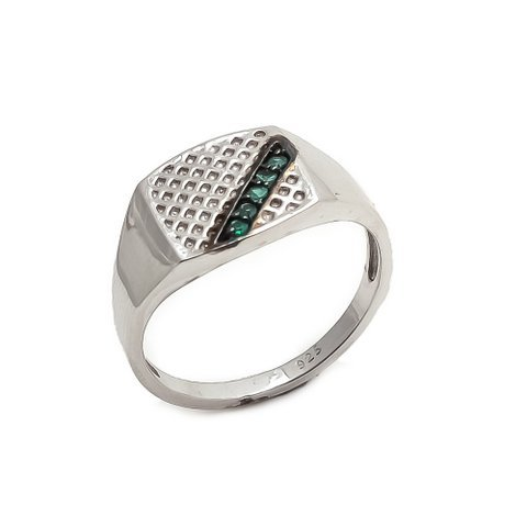 Natural Green Onyx Gemstone Silver Designer Mens ring
