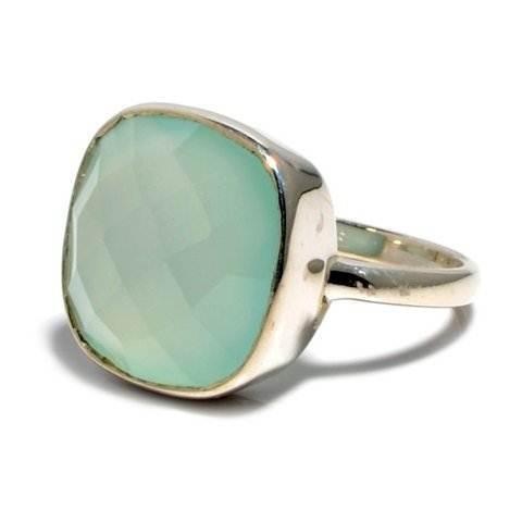 Aqua Chalcedony Gemstone Ring