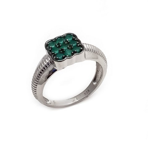Natural Green Onyx Gemstone Charm Mens ring Sterling Silver